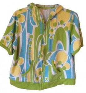 Cato Active Wear Short Sleeve Swirl Pattern Blue Green Yellow White Multi Jacket