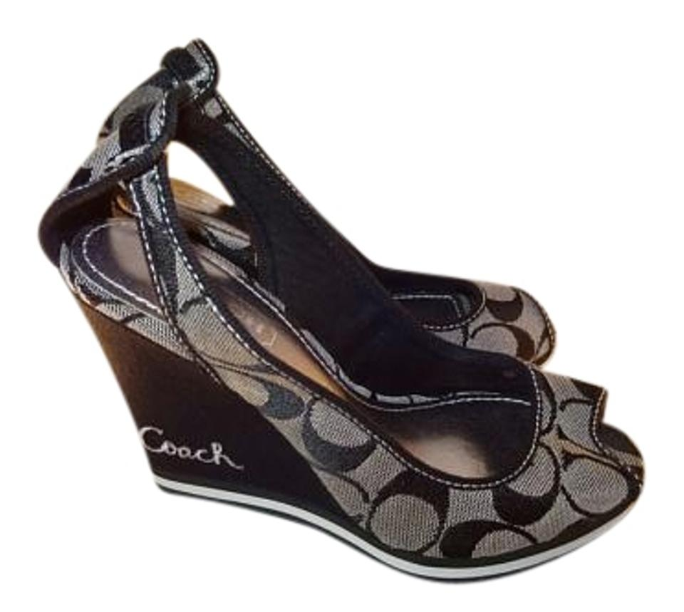 03fbc264d20 Coach Black Signature Tarrah Wedges. Size  US 5 Regular (M ...