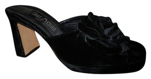 Paul Melian Velvet Flower Slide Open Toe Leather Sole black Sandals