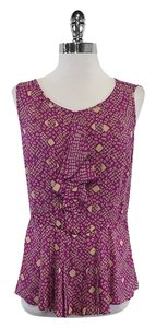 Tory Burch Violet Cream Print Silk Sleeveless Top