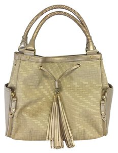Cole Haan Gold Beige Geo Print Shoulder Bag