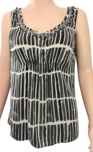 Ann Taylor Embellished Beaded Silk Top gray