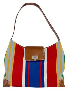 Lambertson Truex Multi Color Striped Canvas Shoulder Bag
