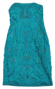 Sue Wong short dress Turquoise Embellished Strapless on Tradesy