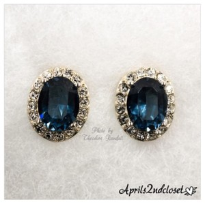 Judith Jack JUDITH JACK EARRINGS Crystal & CZ Pave Stone Oval Blue Earrings