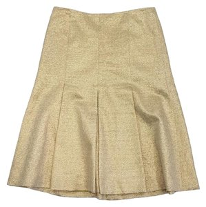 Vera Wang Gold Metallic Pleated Skirt
