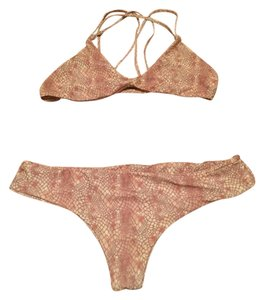 Stone Fox Swim Stone Fox Swim Bikini (M Top, S Bottom) - Pink Snake Print
