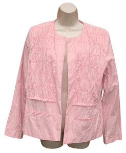 Chico's Open Front Lightweight Ruched Pink Jacket