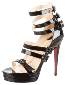 Christian Louboutin Patent Leather Cage Ankle Strap Platform Strappy Black Sandals
