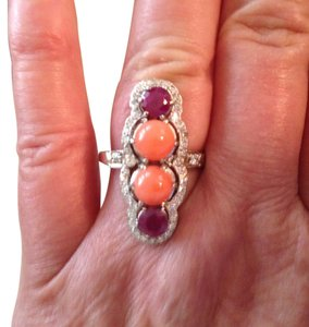 Beautiful Art Deco Fruit Salad Platinum Ring Corals, Rubies and Diamonds - Size 8 - 1.9 total carats of stones