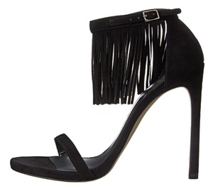 Stuart Weitzman Lovefringe Fringes Black Sandals