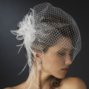 Elegance By Carbonneau White Birdcage Veil With Rhinetone Feather Trim