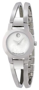 Movado Silver tone Stainless Steel Bangle Mother of Pearl Dial Designer Dress Ladies watch