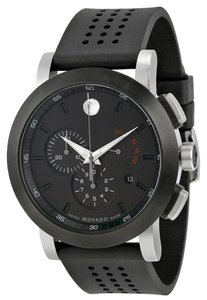 Movado Sport Style Black PVD Dial Stainless Steel Perforated Rubber Strap Desiner MENS Casual Watch