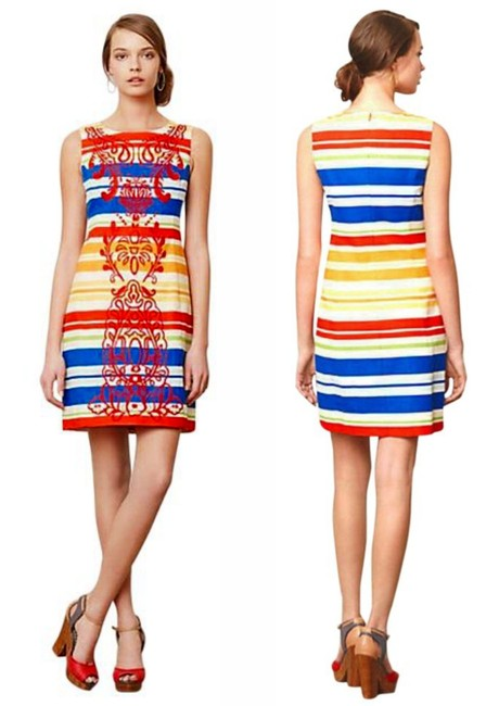 Anthropologie Colorful Embroidery Striped Back Zip Dress