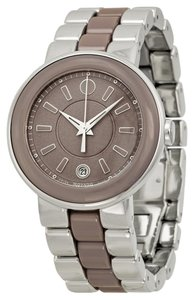 Movado Silver and Smoky Lilac Stainless Steel and Ceramic Designer Ladies Casual Dress Watch
