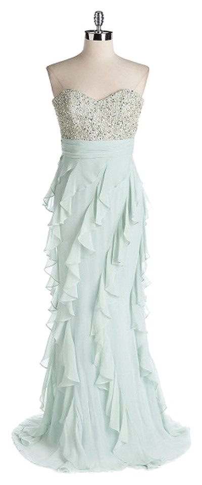 d8258f2824af Badgley Mischka Mint and Beaded Detailing With Tags Silk Bodice Sweetheart  Strapless Ruffle Gown By Formal Dress