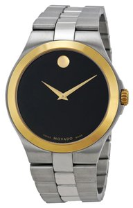 Movado Two Tone Stainless Steel Gold and Silver Back Dial Desigr MENS Dress Casual Watch
