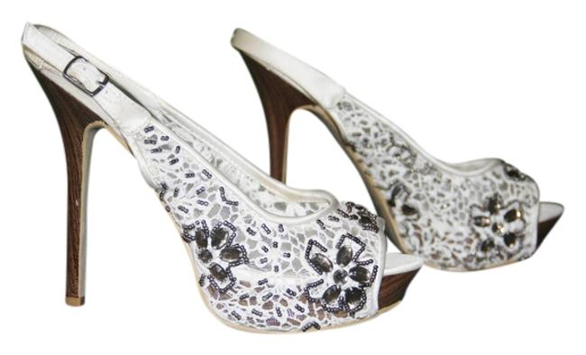 Item - White Inch Heels with Stone Work and Beads Pumps Size US 7