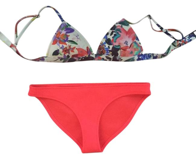 Item - Floral and Coral Bikini Set Size 4 (S)
