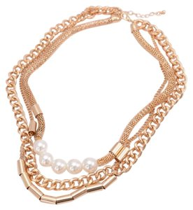 Forever 21 FOREVER 21 Double Row Faux Pearls Collar Chain Necklace