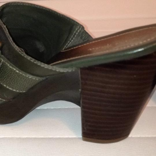 Cole Haan Suede Slip On Leather Buckle Olive Green Mules