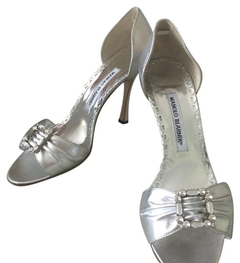 Manolo Blahnik, Silver Sandals. Never Worn Formal