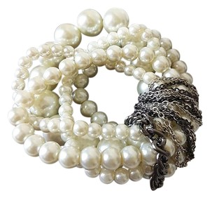 Sears Gorgeous White Glass Pearl Multi-Strand Stretch Bracelet DD-22 Crystal
