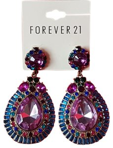 Forever 21 NWT Forever 21 Colored Faceted Faux Stone Rhinestone Dangle Teardrop Earrings