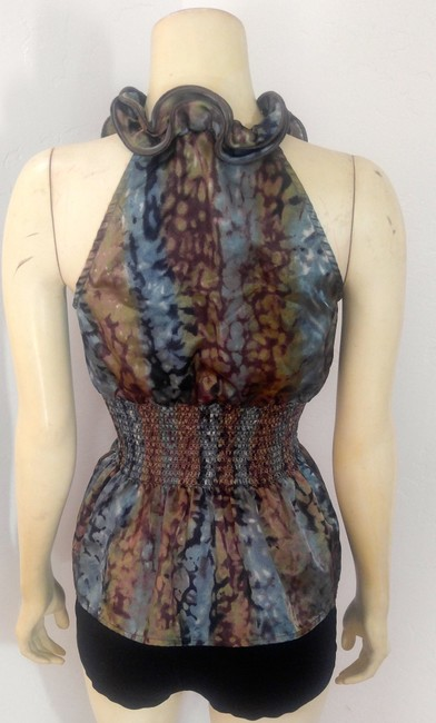 Grass Collection Button Down Size Small P2149 Top Brown, blue