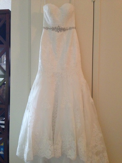 David's Bridal Sweetheart Trumpet Gown With Beaded Sash (style V3680) Wedding Dress