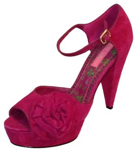 Betsey Johnson Suede Peep Toe Fuchsia Platforms