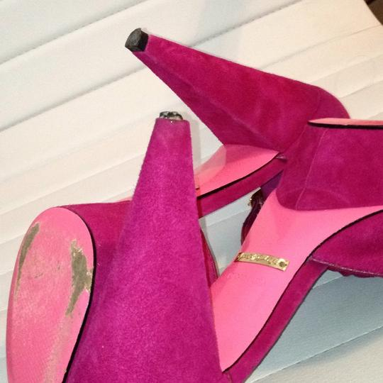 Betsey Johnson Suede Peep Toe Flower Suede Detail Buckle Hidden Fuchsia Platforms