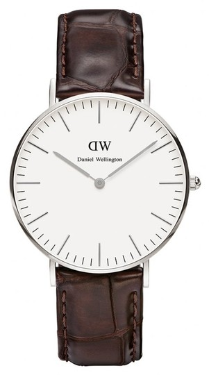 Daniel Wellington Daniel Wellington Silvertone York Women's leather modern dress quartz 0610DW