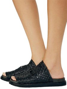 Free People Woven Leather Slip On Black Sandals