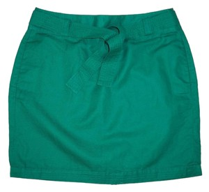 Banana Republic Pencil Green Mini Belted Linen Skirt