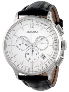 Movado Silver tone Dial and Stainless Steel Case lack Embossed Leather Strap Designer MENS Dress Watch