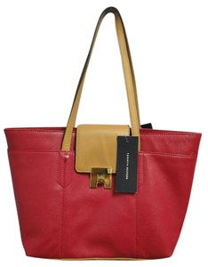 Tommy Hilfiger Shopper Red New Tote in dark pink & tan