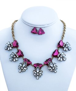 other Embellished Stone Statement Necklace Set(pink)