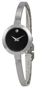 Movado Black Dial Silver tone Stainless Steel Bangle Bracelet Designer Ladies Casual Dress Watch