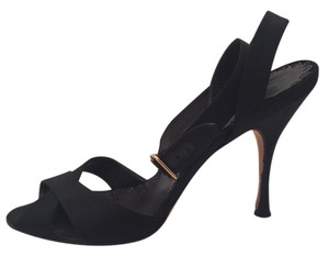 Manolo Blahnik Satin Ankle Strap black Sandals