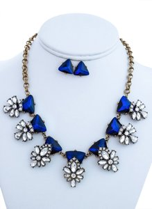Embellished Stone Statement Necklace Set(Blue)