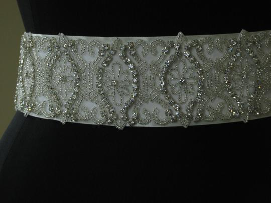 Giavan Ivory Giavan-bridal Bl6-embroidered Lace Over Satin Ribbon-blt5 Sash