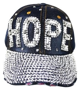 Blue Denim Rhinestone Crystal Accent HOPE Baseball Cap