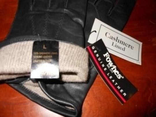 Fownes Black Leather Gloves with Cashmere Lining