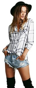 Free People Plaid Flannel Button Down Shirt White/Navy