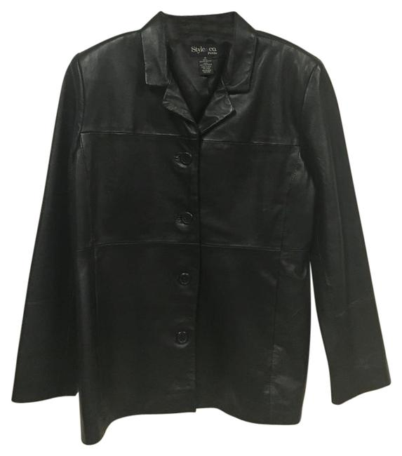 Preload https://item3.tradesy.com/images/style-and-co-black-leather-jacket-size-petite-10-m-17762527-0-1.jpg?width=400&height=650