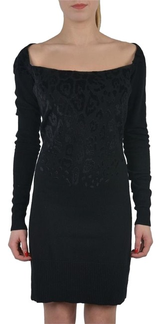 Preload https://img-static.tradesy.com/item/17762647/just-cavalli-cashmere-wool-black-boat-neck-knitted-sweater-above-knee-short-casual-dress-size-4-s-0-1-650-650.jpg