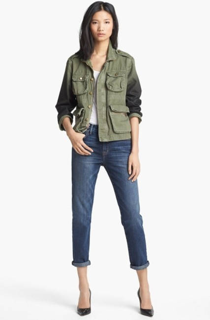 Item - Army Green Ombre Lone Soldier with Coated Sleeves Jacket Size 2 (XS)