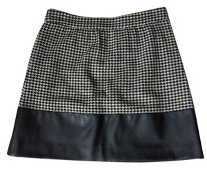 J.Crew Leather Houndstooth Mini Skirt Black and cream